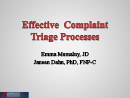 Watch Effective Complaint Triage Processes Video