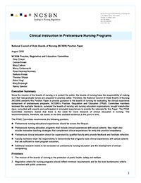 Clinical Instruction in Prelicensure Nursing Programs