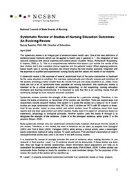 Systematic Review of Studies on Nursing Education Outcomes: An Evolving Review