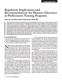 Regulatory Implications and Recommendations for Distance Education in Prelicensure Nursing Programs