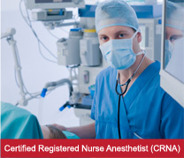 registered nurse anesthetist in medical gown